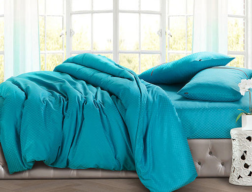 Buy Oxford Single Duvet Cover in Turquoise Colour -Online Happymonk India