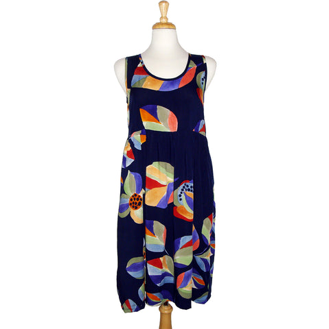sleeveless blue floral dress with pockets, scoop neck, gathered waist, comfy.