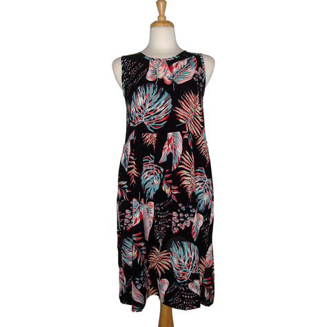 Desserts and Skirts Loose fitting sleeveless dress in black with teal and pink leaves in large print