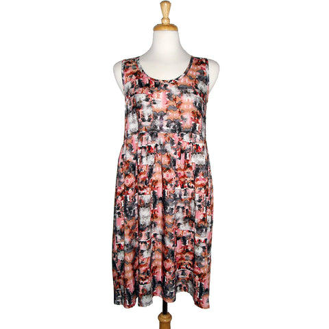 sleeveless summer dress with gathered waist and a high low hem in a beautiful watercolour print in soft pinks and greys
