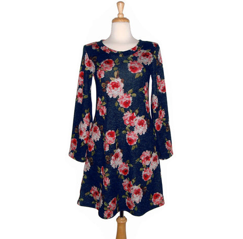Celeste Dress - Blue Roses - Sale