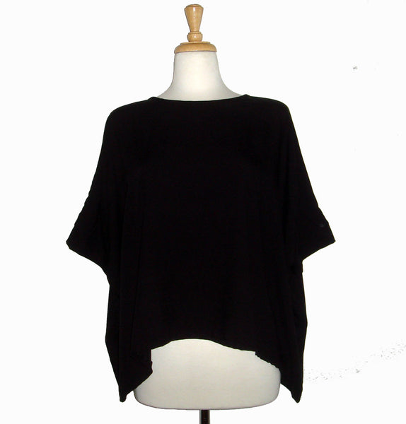 Loose fitting black top wide and flowy