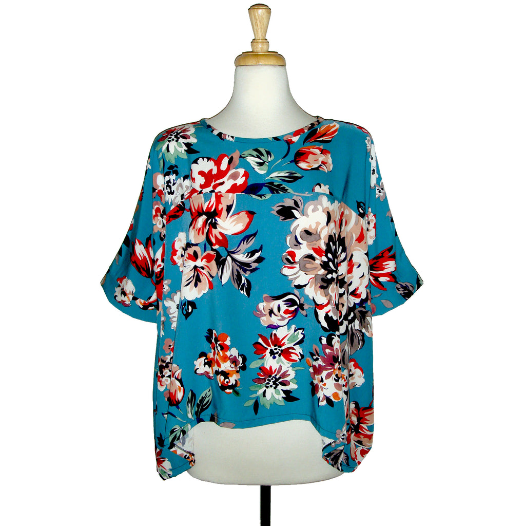 blue floral loose fitting blouse with red and orange flowers, beautiful colour color