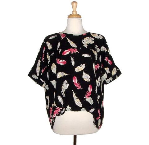 Beautiful Feather Printed Loose fitting Blouse in Pink Yellow and Grey on Black