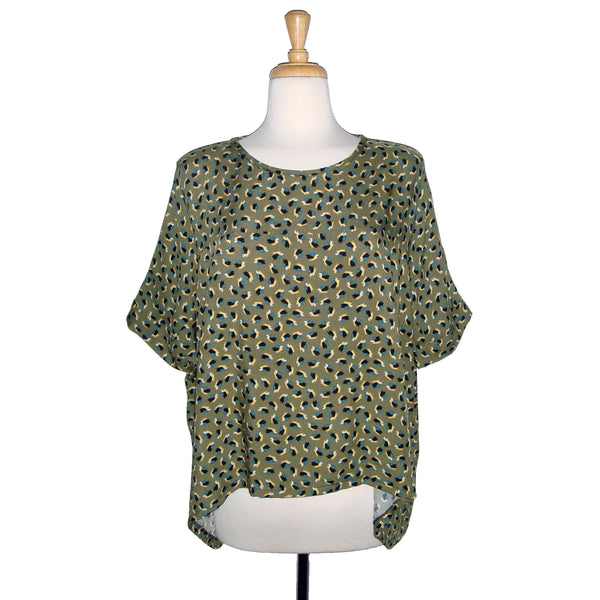loose flowing blouse top in a beautiful green splashed with yellow, blue, and black paint marks. Very 80's print.