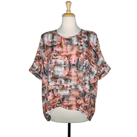 loose fitting blouse top in a stunning pink and grey watercolour print.