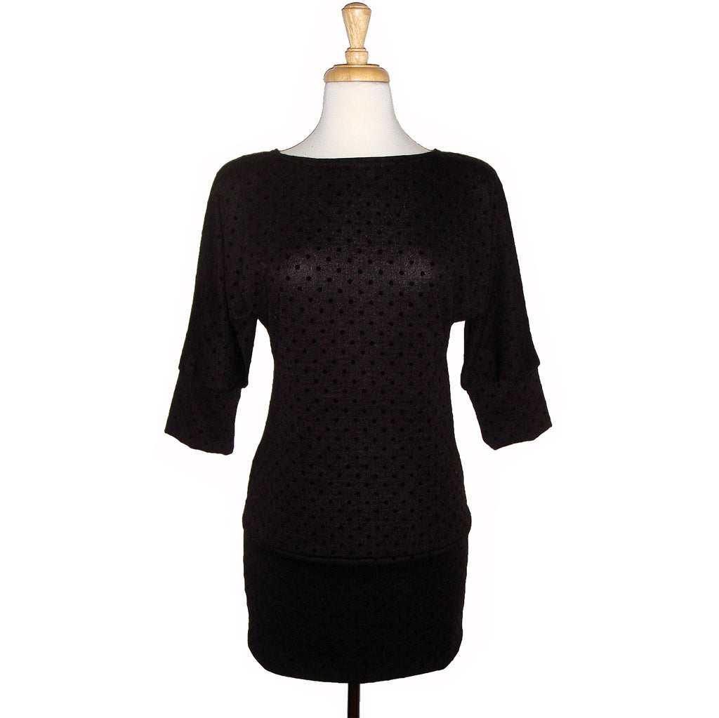 Long tunic, sweater dress, top, black on black polka dots