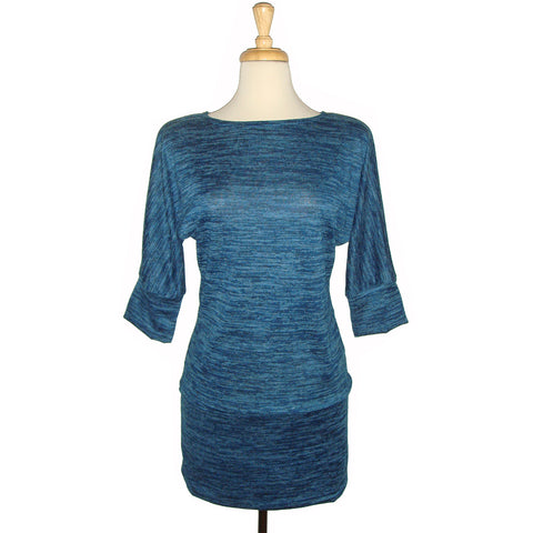 long sweater tunic in super soft knit, blue heather, heather blue