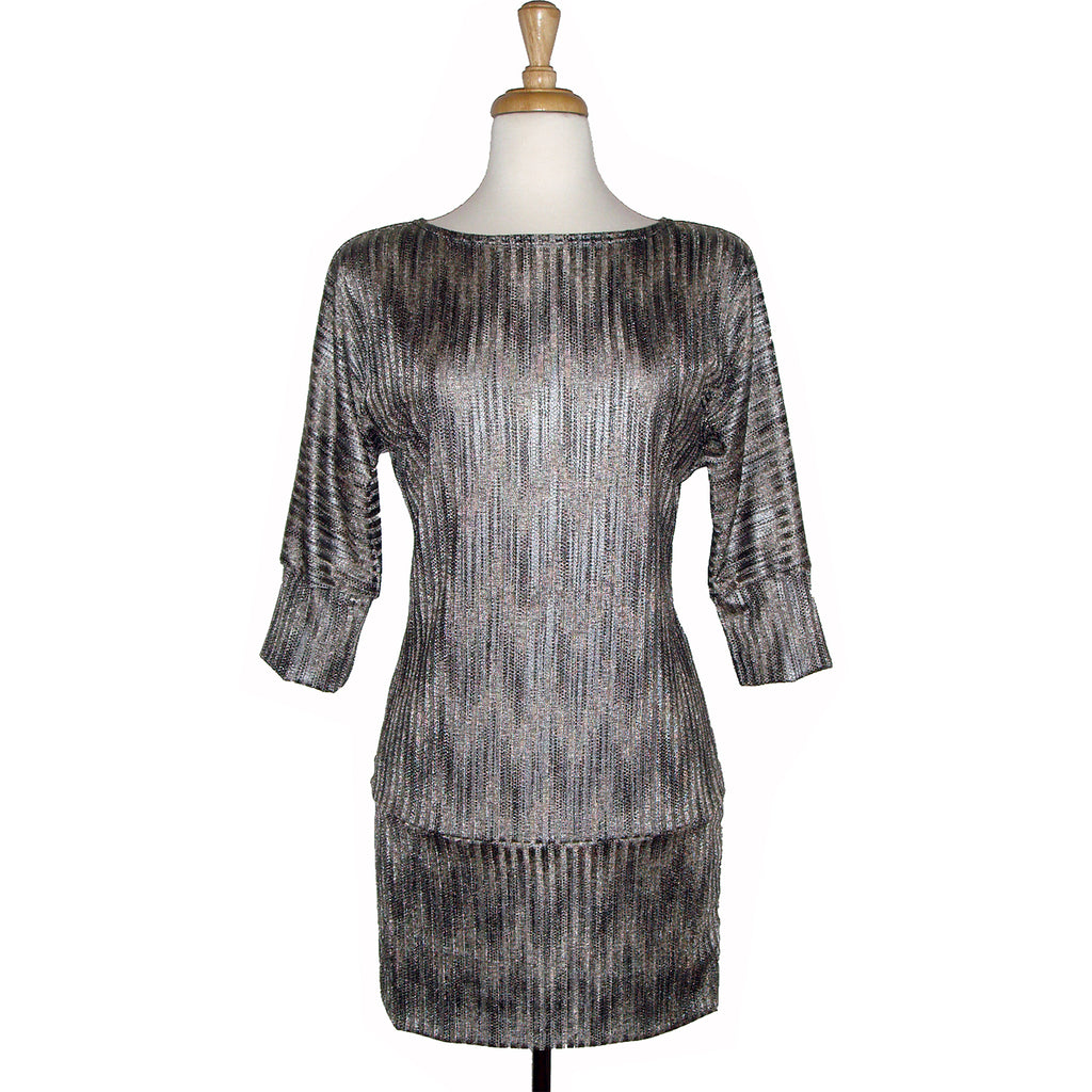 70's inspired gold chevron print glam tunic, long sweater, sweater dress.