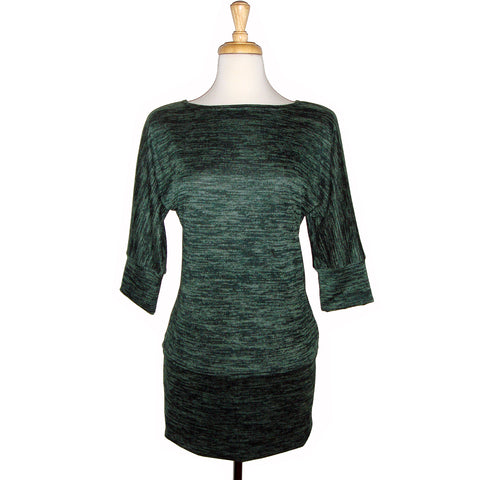 long sweater tunic top in super soft heather green knit