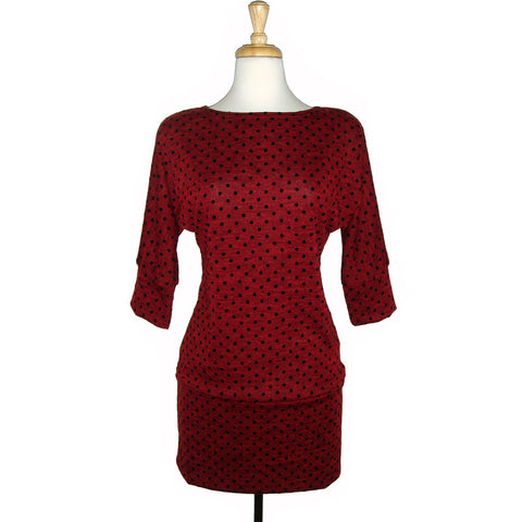 long sweater tunic top red with small black polka dots
