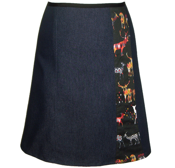 colourful deer on dark blue denim skirt