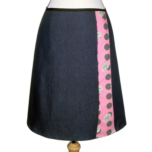Dark Denim Skirt with cute pink polka dots and hedgehog cotton fabric. super cute and quirky.