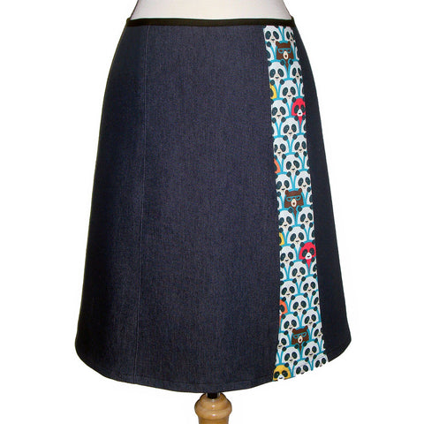 Dark denim skirt with Panda and bear print on cotton in blue