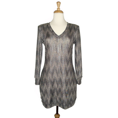 glam gold v-neck knit dress chevron print in silver and gold sexy