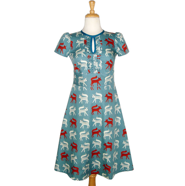 50's inspired pin up style fox printed blue short sleeved dress with pockets