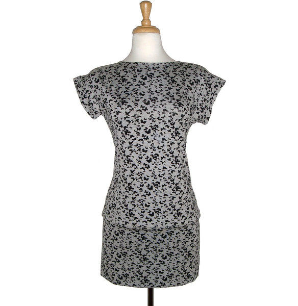 Black and Grey Butterfly printed tunic