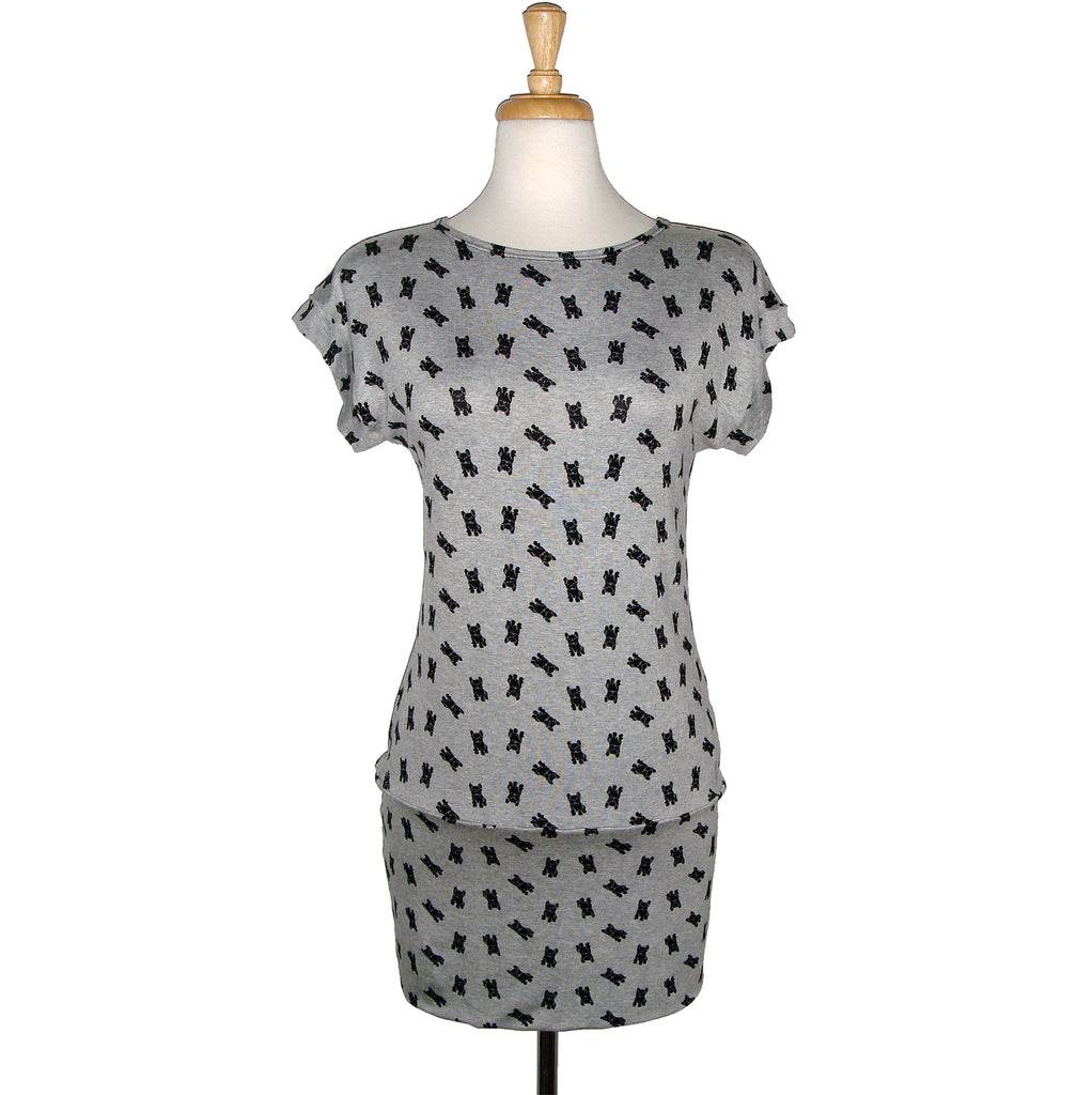 Spring/ Summer short sleeved dog printed stretchy tunic perfect over leggings or jeans or as a short dress.