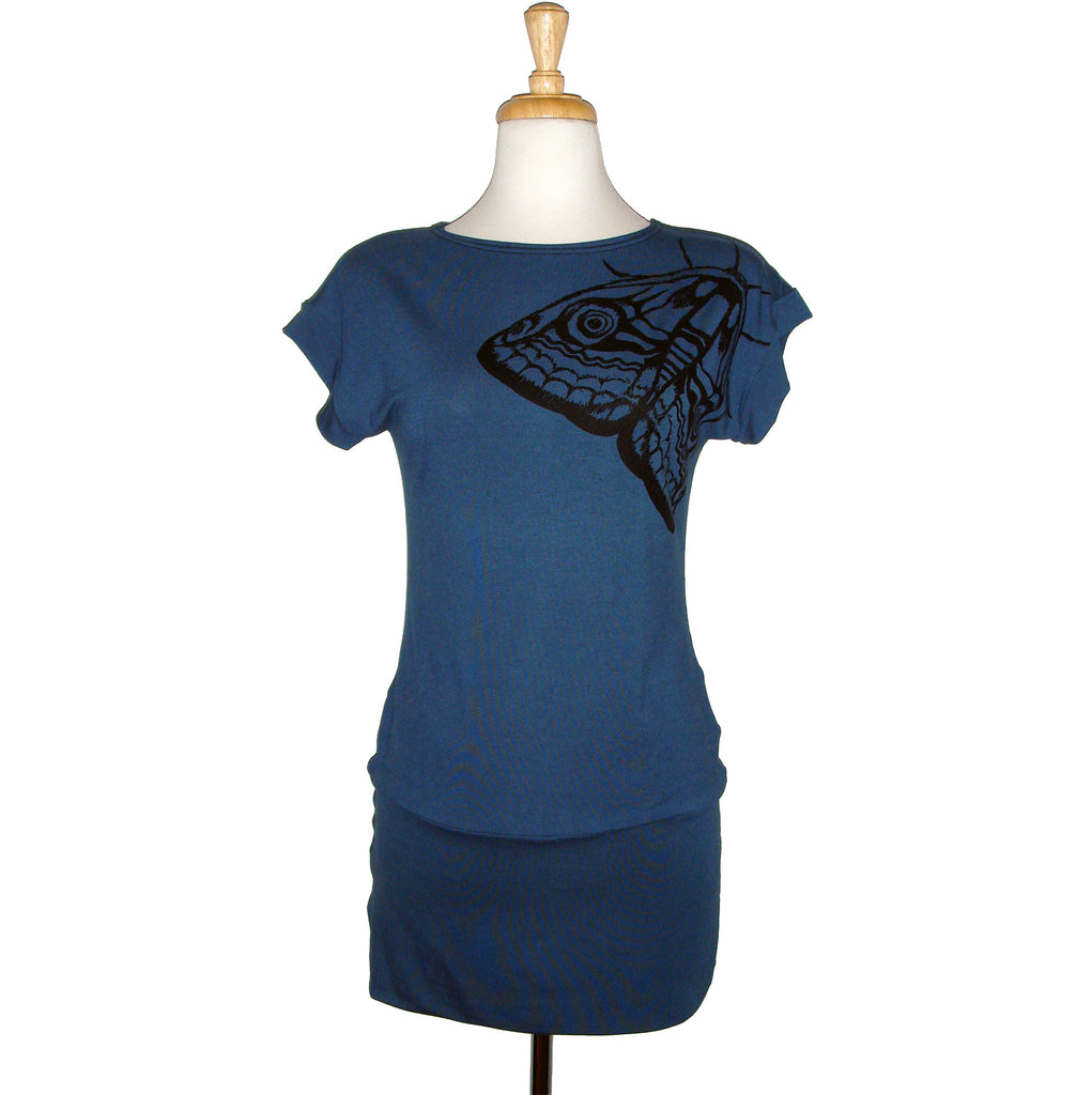 blue short sleeved tunic, long tee, with beautiful large moth screen print, great over leggings or jeans, or as a short dress.