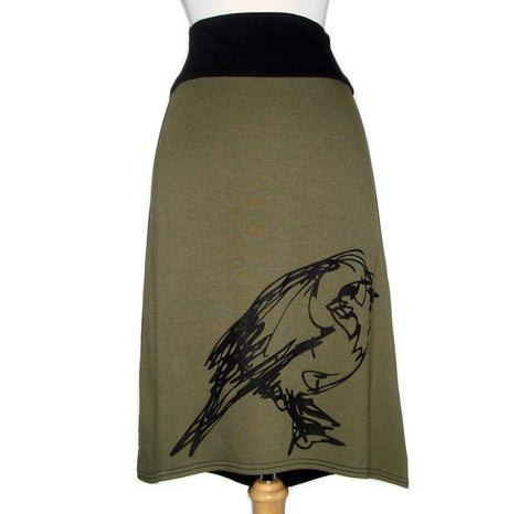 Midi Skirt Bird Print in Olive