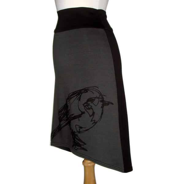 Midi Skirt Bird Print Charcoal Grey Side View