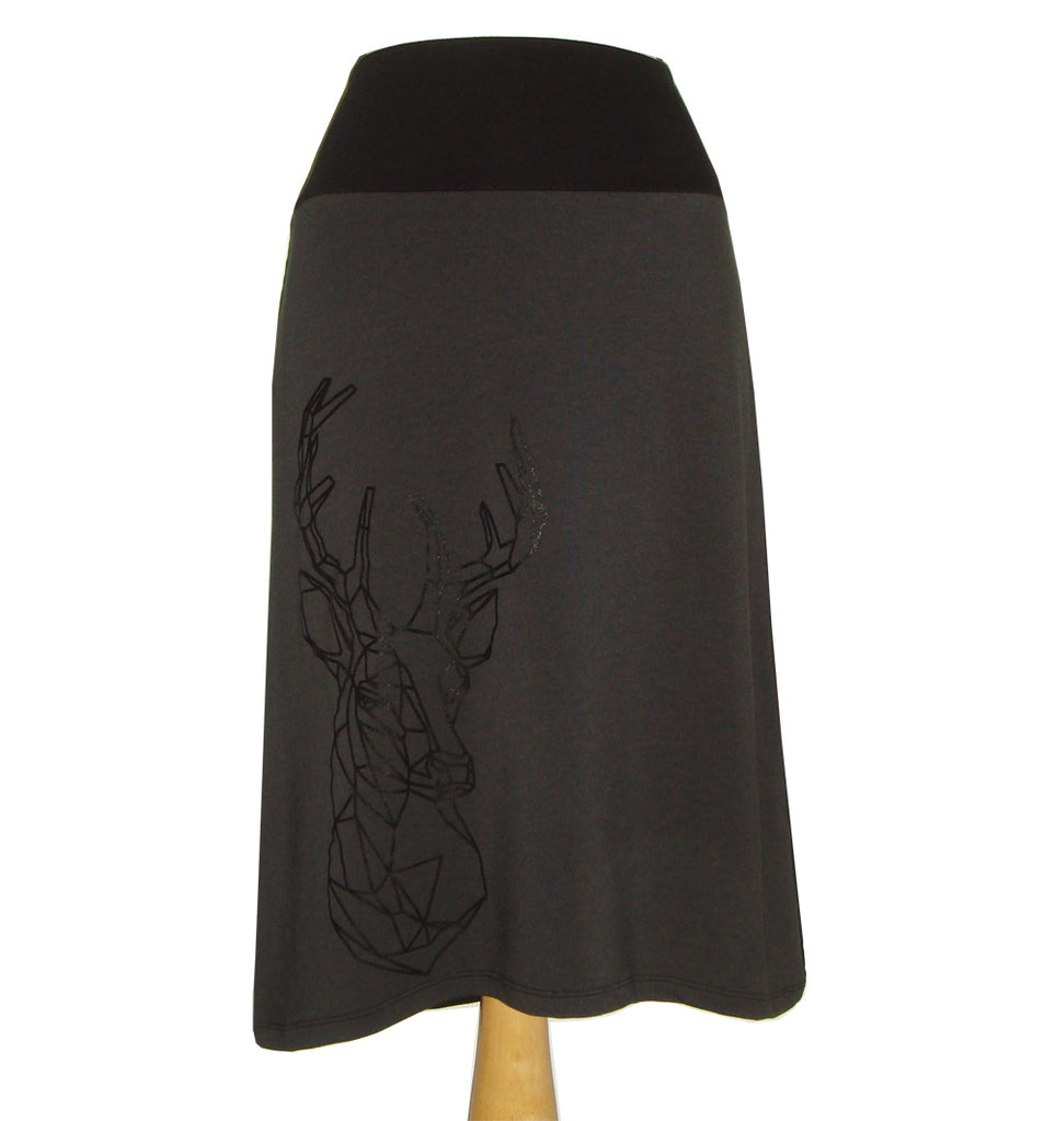 Bamboo midi skirt with grey front and black back and a deer head screen printed on the front