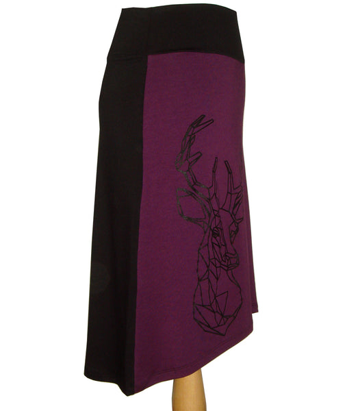 Bamboo midi skirt with purple front and black back and a deer head screen printed on the front
