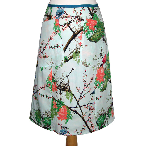 Fun Printed Cotton Midi Skirt with Large Pockets, birds in trees, peacock, blue jay, cardinal, branches.