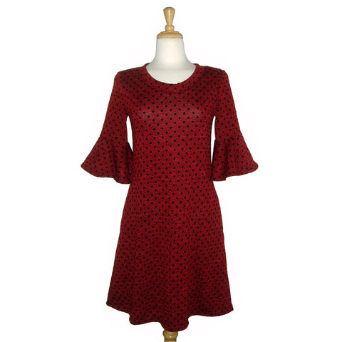 Cute sweater dress with peplum sleeve in red with black polka dots knit fabric