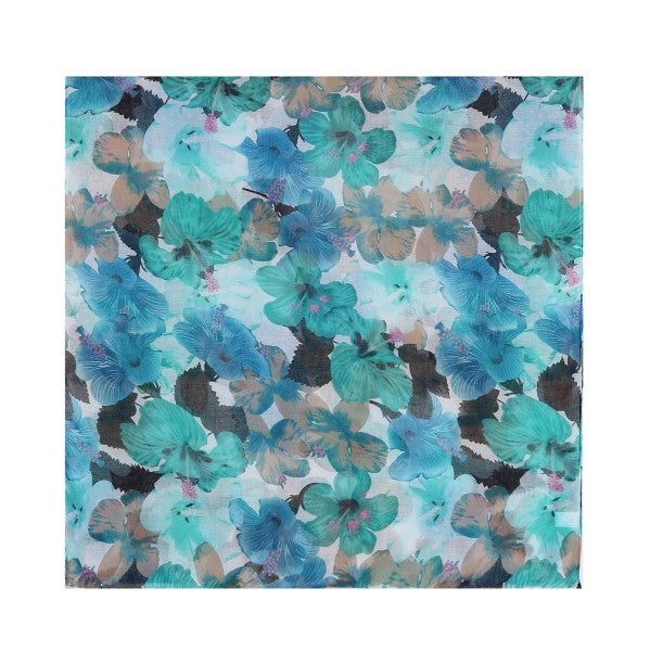 Blue/Grey Hibiscus Print