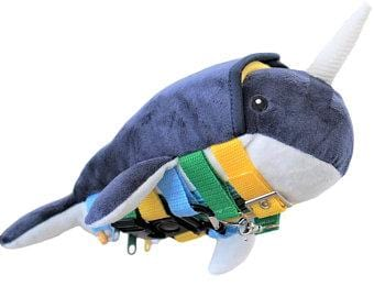 Sensory4u Sensory Buckle Pillow Fine Motor Activity Toy Narwhal