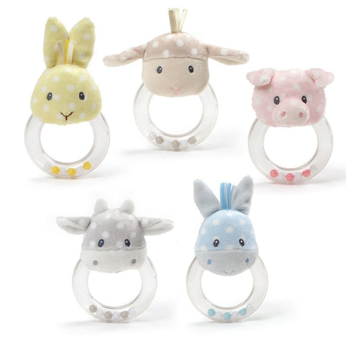 Baby Gund Roly Polys Plush Animal Ring Rattles - 4.5""