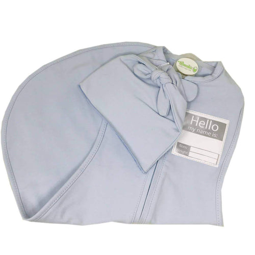Woombie Hello My Name Is.... Keep-sake swaddle Blue