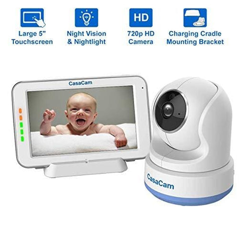 "CasaCam BM200 Video Baby Monitor with 5"" Touchscreen and HD Pan & Tilt Camera"