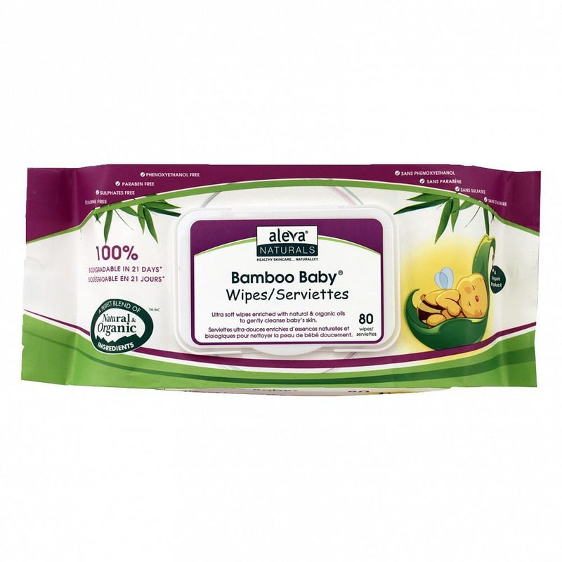 Clearance Aleva Naturals Bamboo Baby Wipes 80 Pack