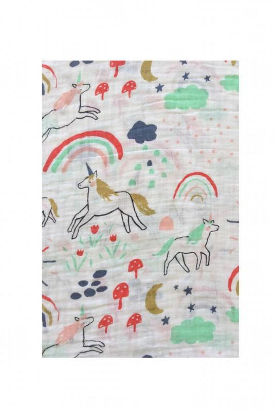 Rainbow & Unicorn Swaddle Blanket - CLT Boutique