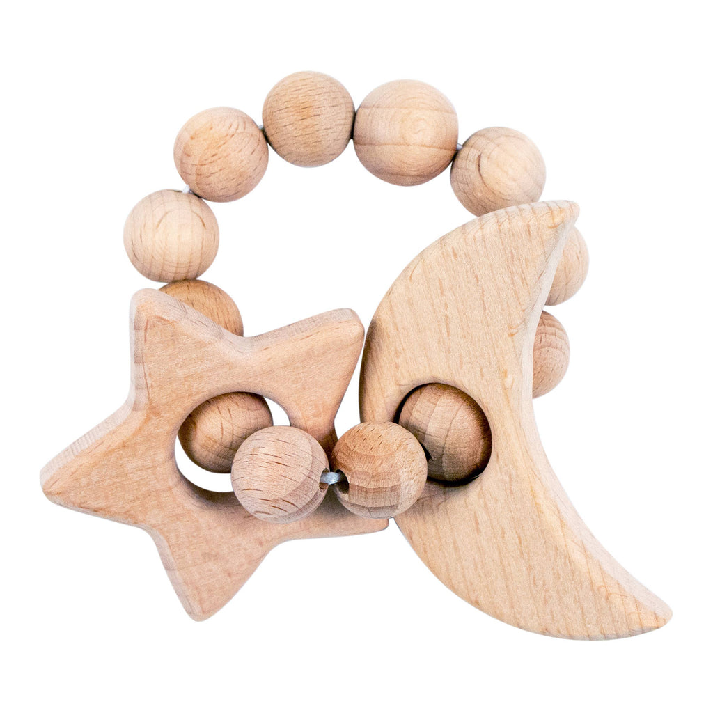 Moon & Star Natural Wooden Teether - CLT Boutique