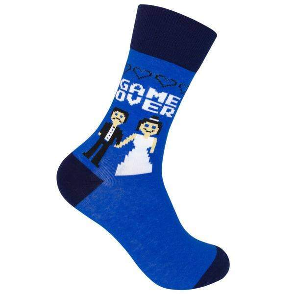 game over, funny socks, gift, gift for him, wedding gift, bride, groom, game over,