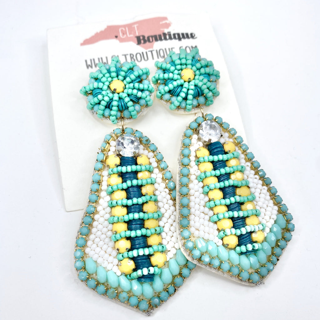 seed bead, statement earrings, earrings, jewelry, teal, spring, summer, seed bead earrings, beaded, bead