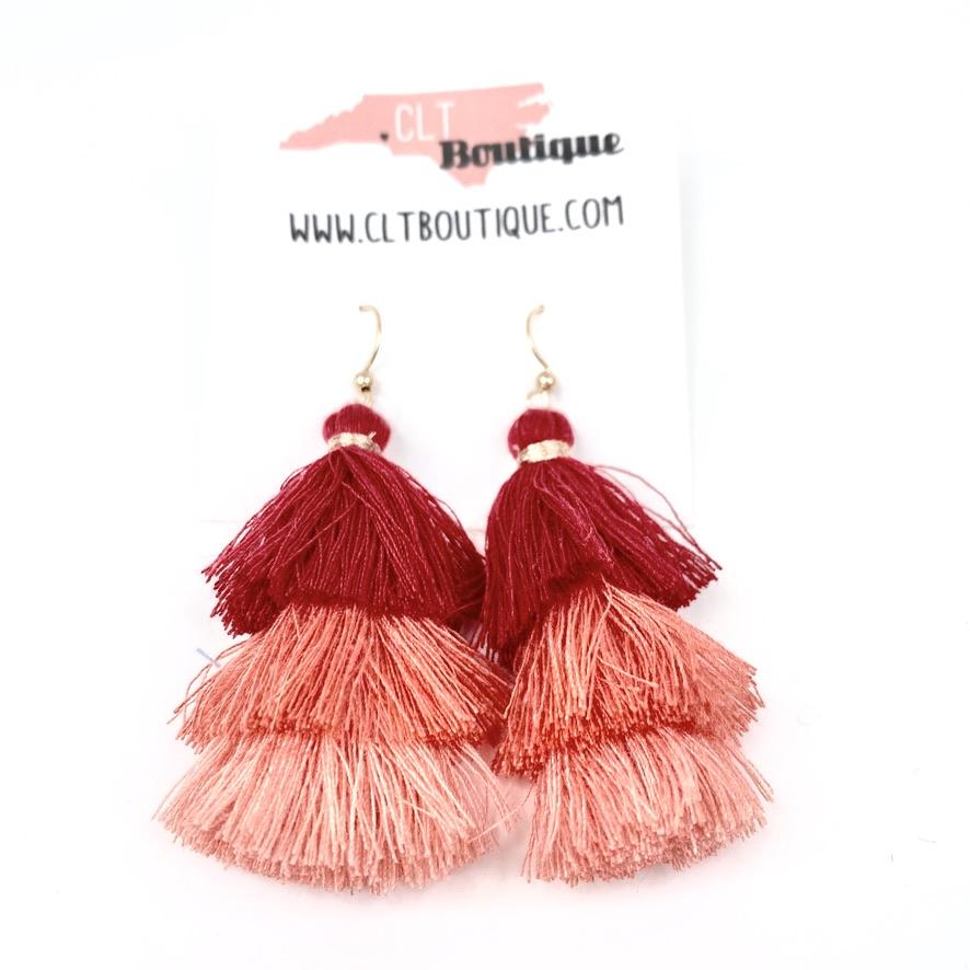 ombre tassel earrings, fringe