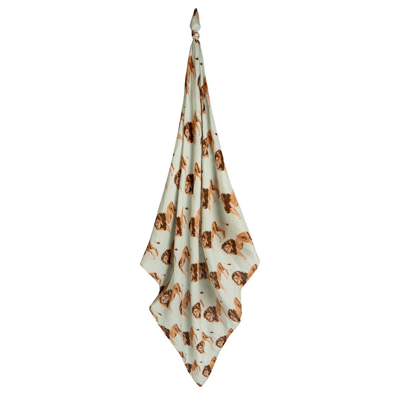 Lion Bamboo Muslin Swaddle Blanket