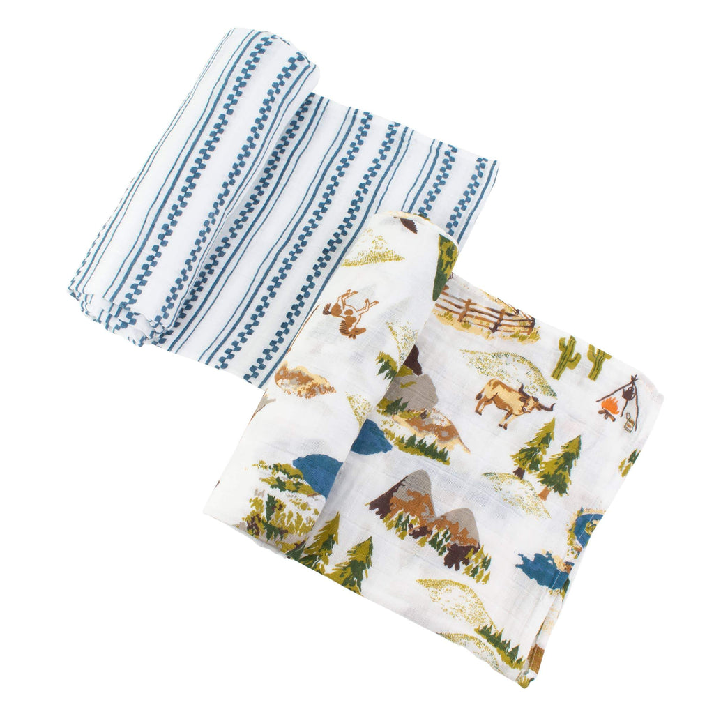 Wyoming + Western Stripe Classic Muslin Swaddle Blanket Set - CLT Boutique