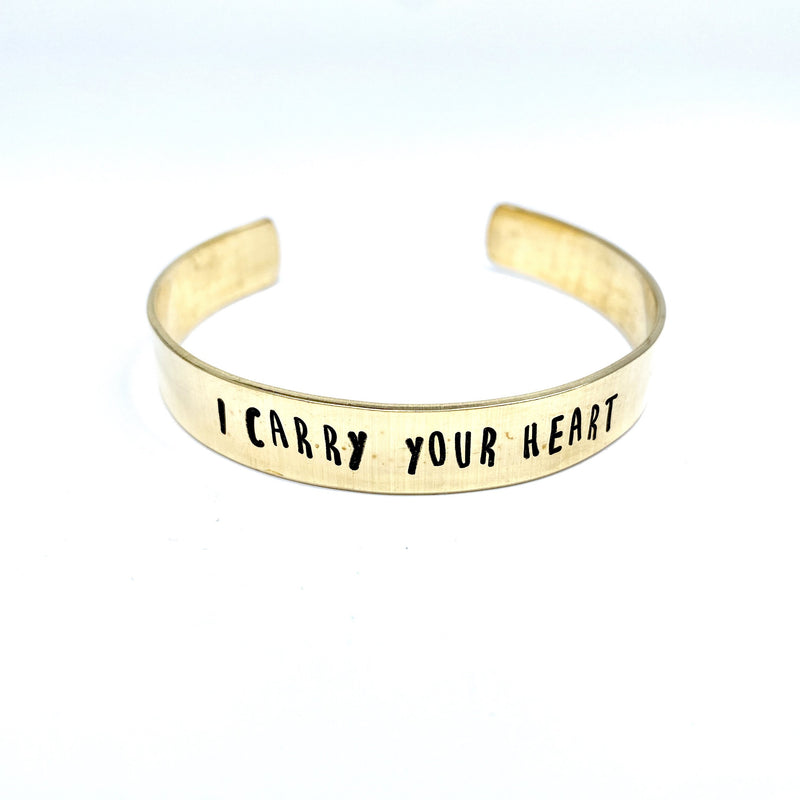 I Carry Your Heart Hand Stamped Bangle