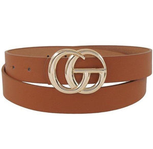 Cognac Designer Buckle Belt