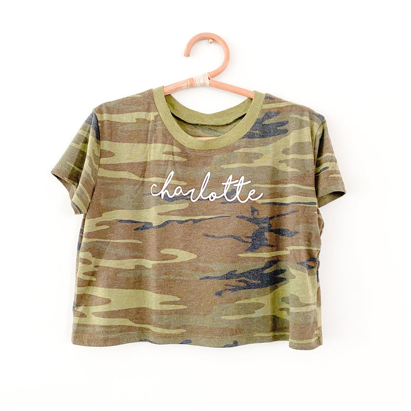 Camo Charlotte Script Cropped T-Shirt