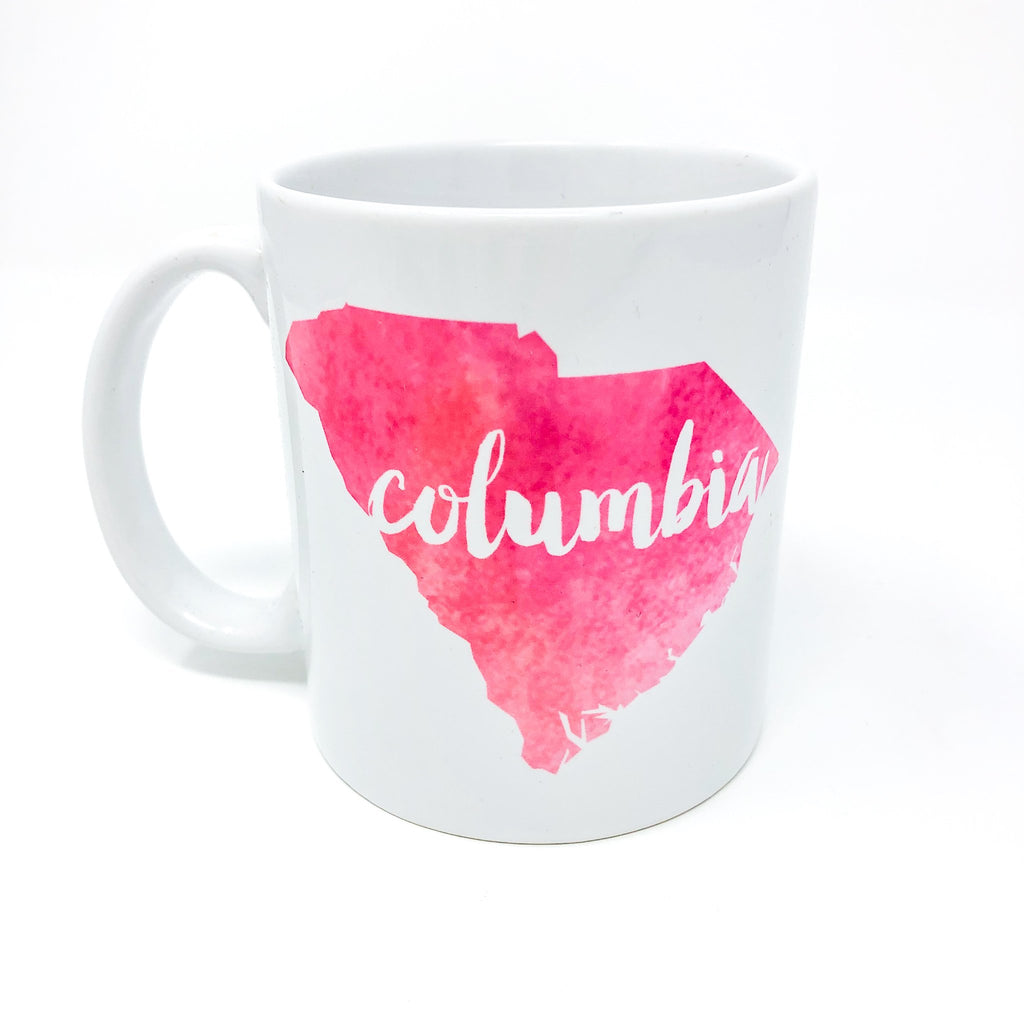 columbia, columbia sc, south carolina, SC, 803, cola, soda city, sakerlina, usc, mug, mug life, coffee, coffee mug, coffee lover, coffee addict, gift for her, gift for friend, unique, handmade, local love, sc, palmetto, palmetto state, tea, mugs, soda city market, watercolor