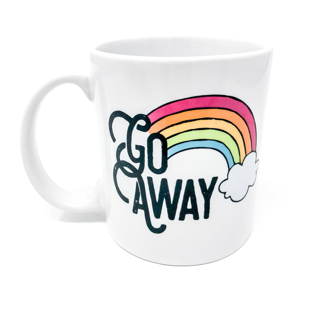 go away, don't talk to me, mug, coffee mug, funny mug, handmade, unique, gift, gift for coworker, corporate humor, work humor, rainbow, caffeine, decaf, coffee addict, not a morning person, funny gift