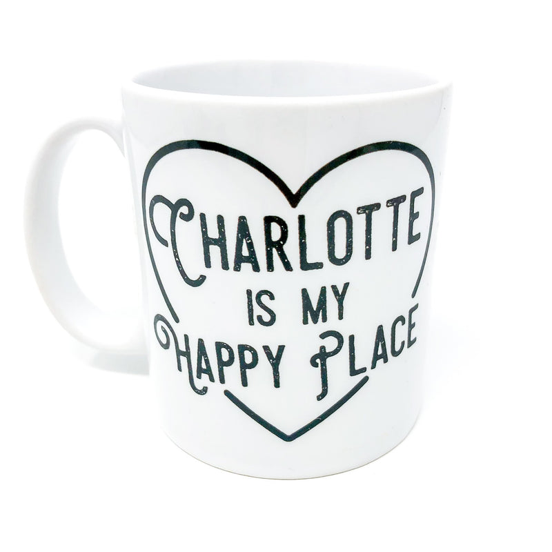 charlotte, nc, north carolina, camp mug, metal mug, coffee lover, caffeine, handmade, unique gift, gift for her, adventure, outdoors, charlotte is my happy place, 704