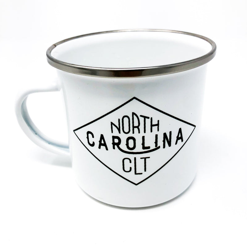 charlotte, nc, north carolina, camp mug, metal mug, coffee lover, caffeine, handmade, unique gift, gift for him, gift for her, adventure, outdoors