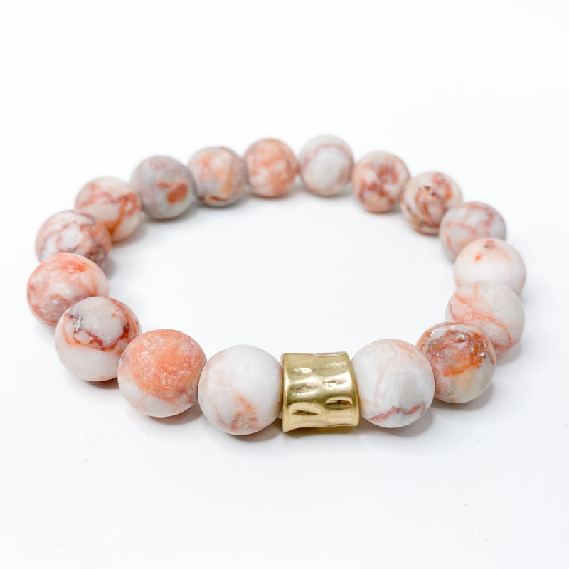 peach orange desert tones, stretchy bracelet, natural stones, stack, set